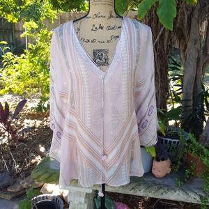 Hale Bob batwing sleeve silk blouse